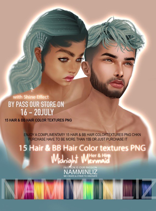 By Pass our stores on 16 to 20 July to get a complimentary Mermaid Midnight 15 Hair & BB Hair Colors