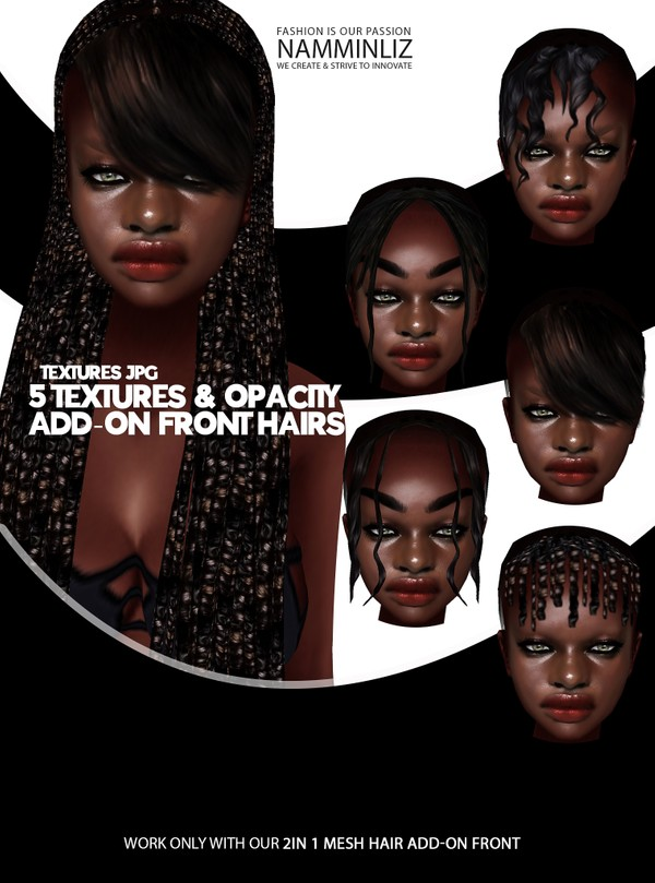 5 Textures & Opacity JPG Add on From hair (work only with 2in1 Mesh HairFront Add-on XMF)