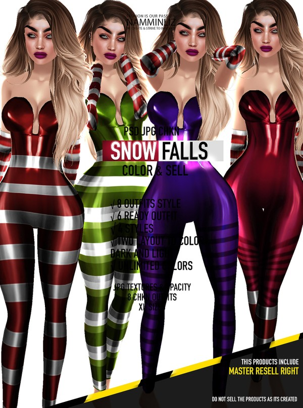 Snow Falls-Color & Sell PSD JPG CHKN Limited to 4 clients only include Master Resell Right