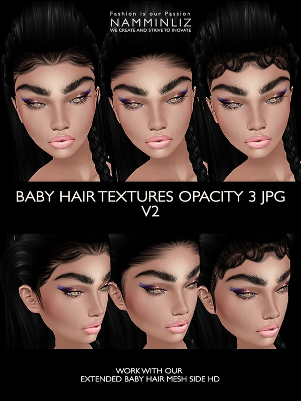 3 Baby hair Opacity JPG only V2 (Work only with our Extended Mesh link below)