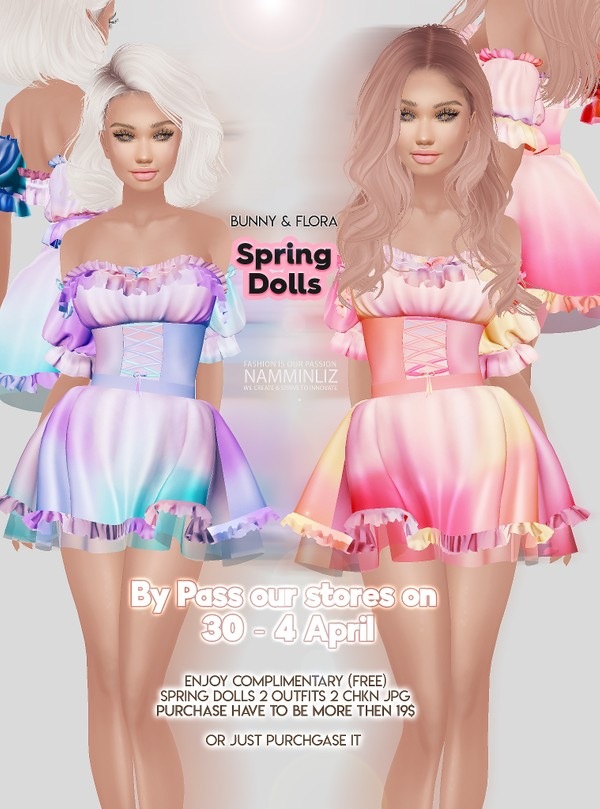 By Pass our stores on 30 - 04 April Spring Dolls 2 Outfits 2 CHKN JPG