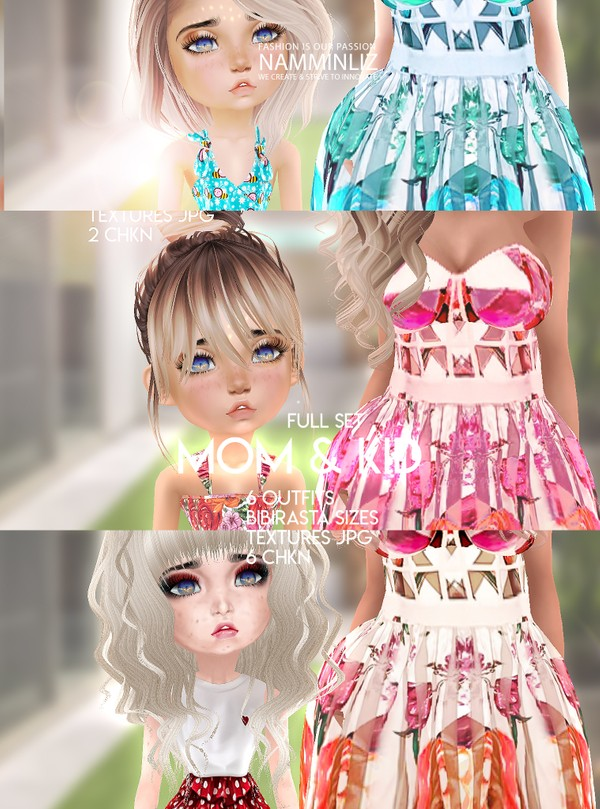Mom & Kid Full Set  6 Outfits Textures JPG 6 CHKN