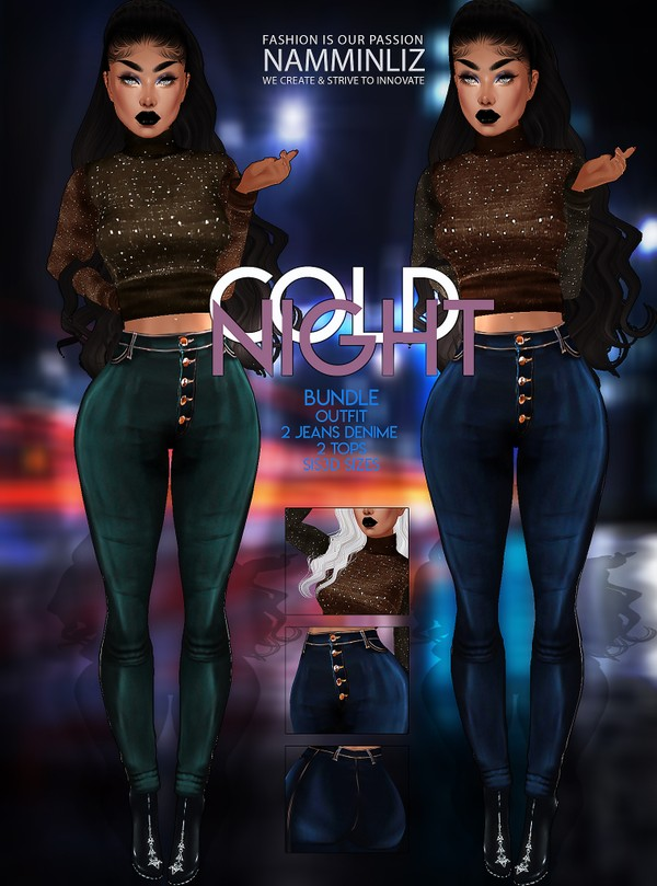 Cold Night Bundle Textures JPG 2 Jeans Denim  2 Tops 2 CHKN Sis3d sizes