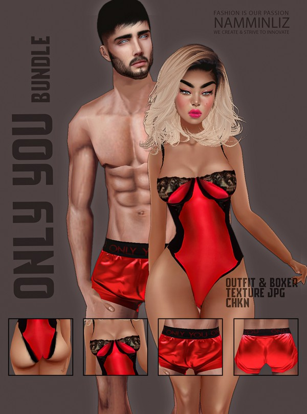 Only You Bundle Red Textures JPG CHKN (Men & Female) Lingerie