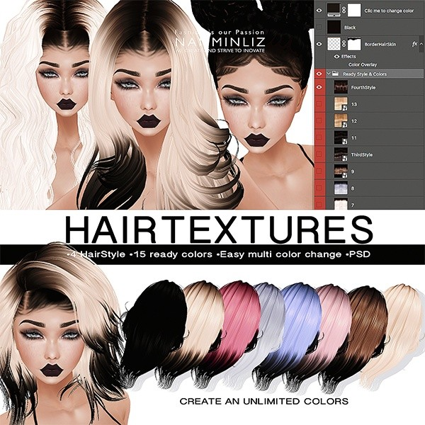 PSD Hairstyle Textures •Unlimited Colors •4HairstyleStyle Texture.