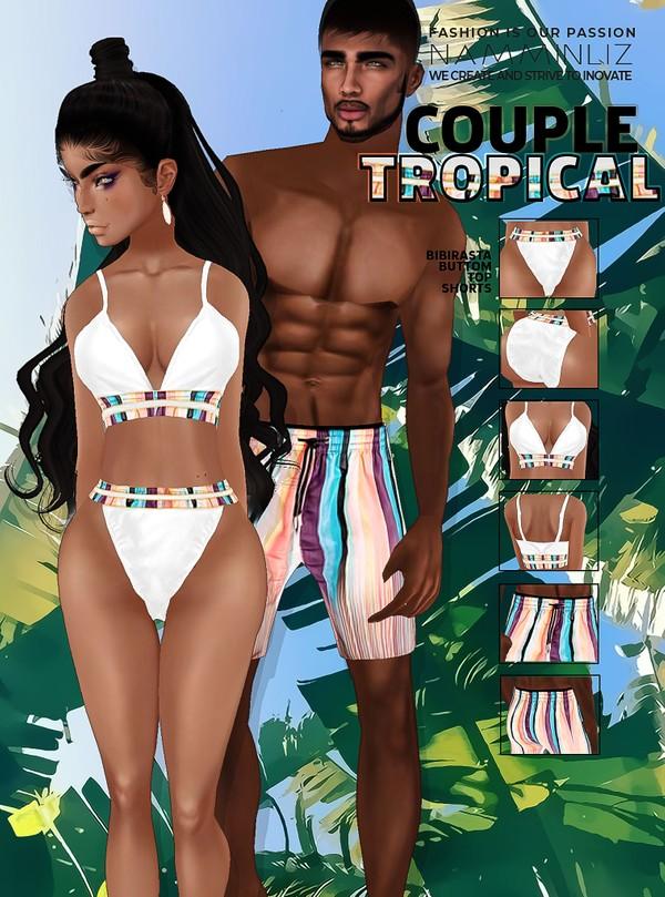 Couple TROPICAL JPG Textures Bibirasta Top, Bottom, Shorts Bundle