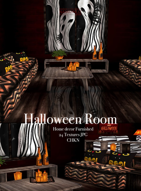 Halloween Room Home Decor Furnished 24 Textures JPG 1 CHKN (imvu link to derivable mesh)