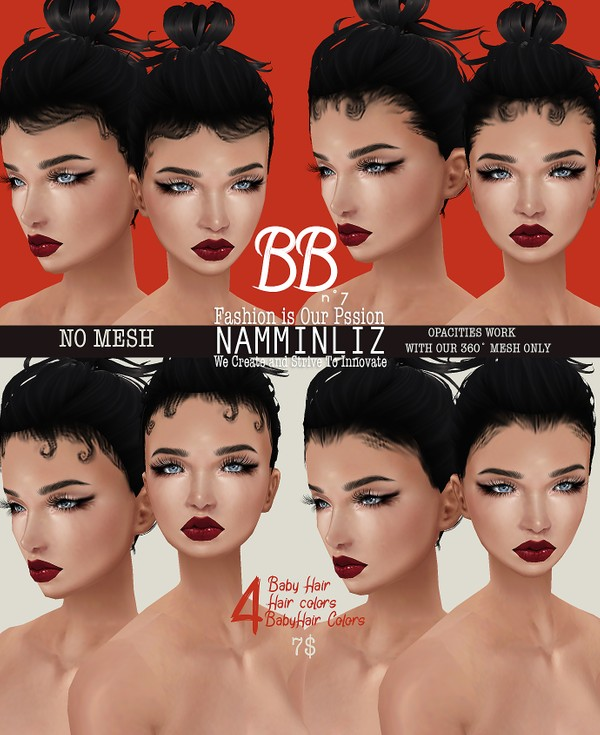 BBn˚7  4 Baby Hair style +baby Hair Colors + Hair Textures (Work only with our 360°Mesh link below)
