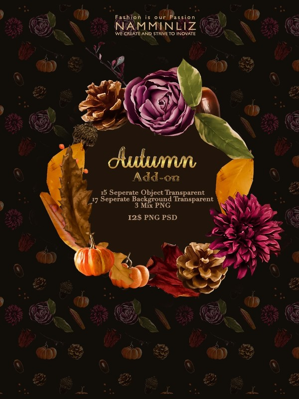 Autumn Add-on isolated objects psd & Textures Transparent PNG