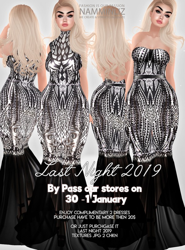Last Night 2019 ByPass our stores on 30 to 1 January to get this complimentary 2 Dresses Texture JPG