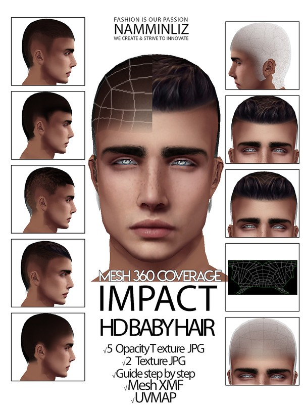IMPACT HD BABY HAIR 3D Mesh XMF UVMAP 5 Opacity Textures 2 Textures JPG Guide Step by Step