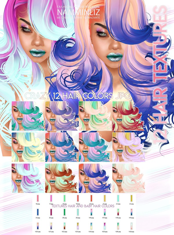 Crazy 12 Hair Textures JPG & Opacity Colors JPG