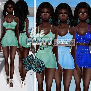 PoolParty combo3 ( 3 Outfits Bibirasta + Earrings )