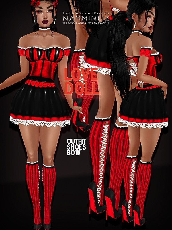 Black&Red Love Doll Textures JPG (Dress, Shoes, Bow)