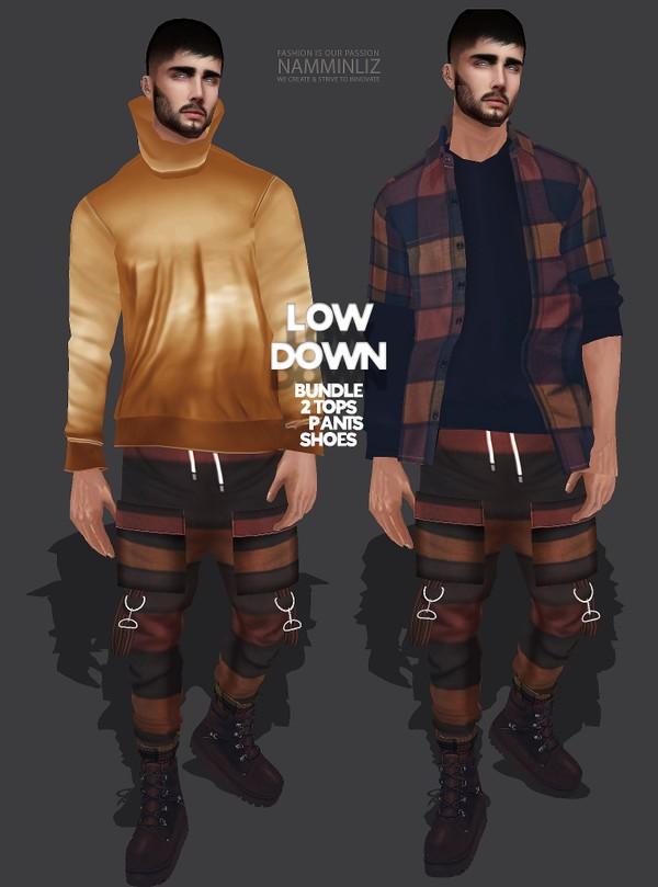 LOW DOWN Bundle2, 2 Tops, Pants, Shoes Textures JPG 4 CHKN