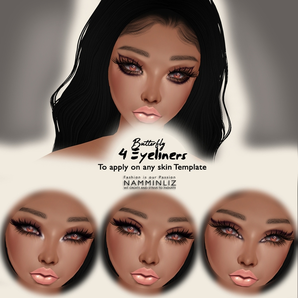 Butterfly  4 EyeLiners To Apply on Any Skin Template( Textures PNG)