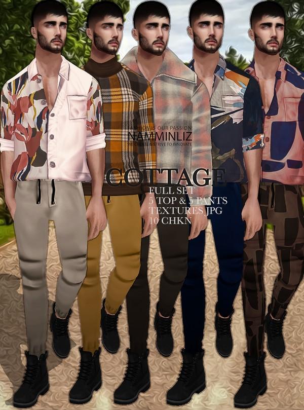 Cottage Full SET Textures JPG 5 Tops & 5 Pants 10 CHKN