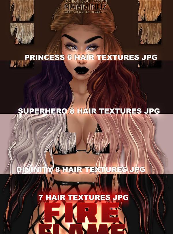 29 Hair Textures JPG 4 Style(7 Fire Flame,6 Princess,8 Superhero,8 Divinity)