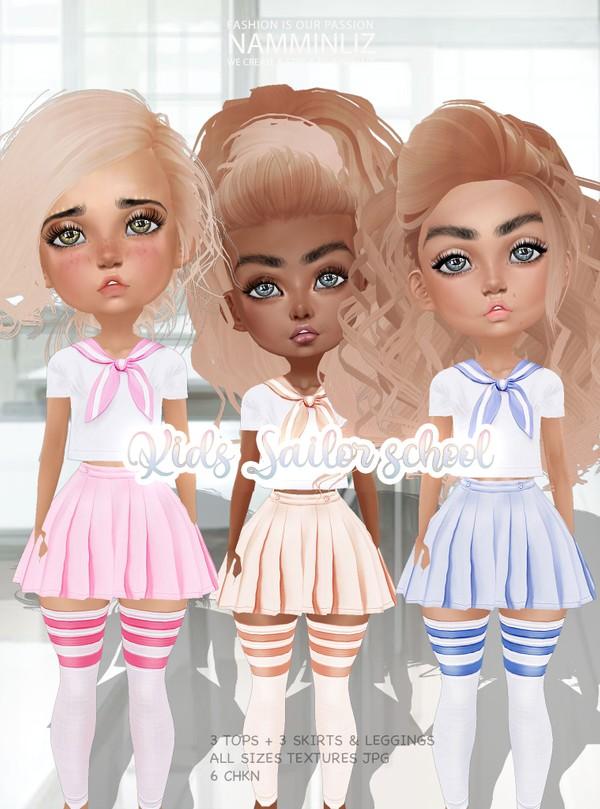 Kids Sailor School Box  3 Tops(bibirasta)+ 3 Skirts (sis3d)+ 3 Leggings Textures JPG CHKN