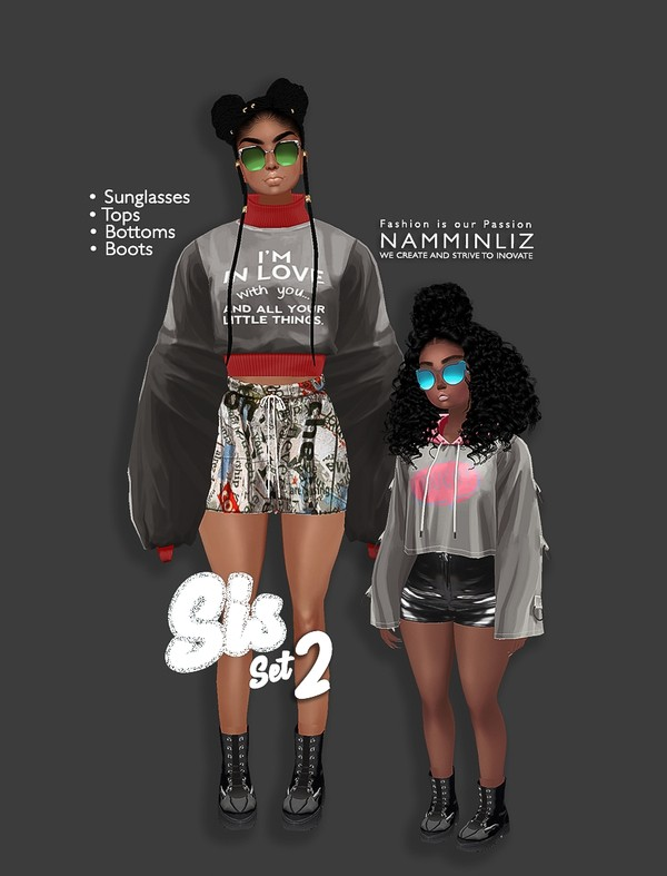 Sis Set2 Tops + bottom + Sunglasses +boots ( Textures PNG CHKN)