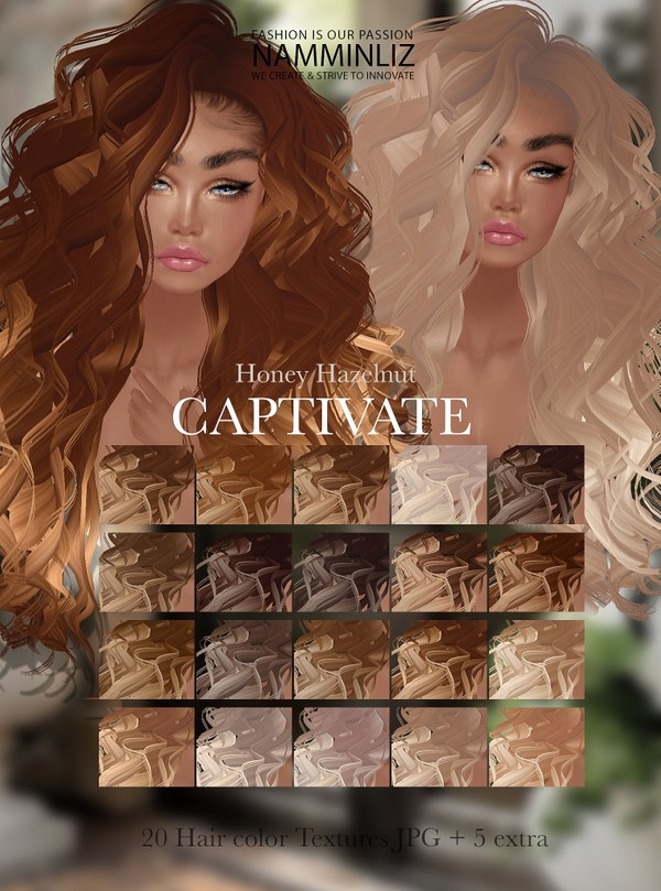 Captivate Honey Hazelnut 20 Hair Colors Textures JPG+ 5 Extra