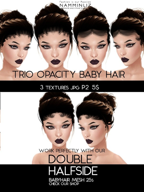 Double Half Side 3 Baby Hair Opacity Textures JPG 2018 P2 (Work only with our Double Mesh link below