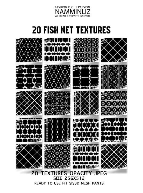 20 Fishnet Opacity Textures JPG 256X512