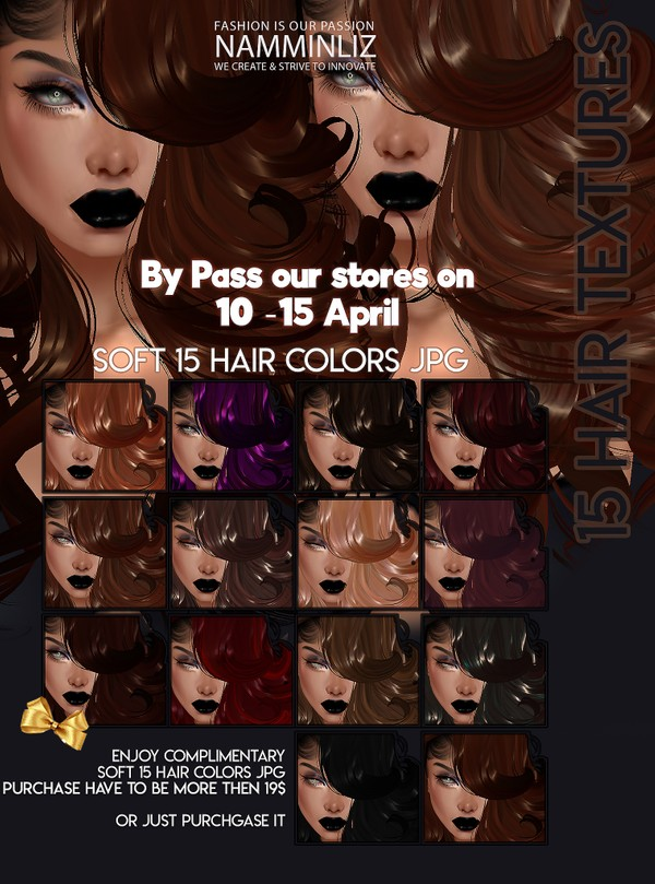 By Pass our stores on 10 to 15 April to get a complimentary 15 Hair Textures JPG CHKN