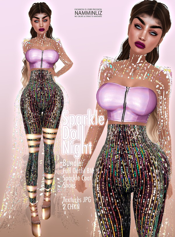 Sparkle Doll Night Full Outfit, Sparkle Coat & Shoes BM all sizes Textures JPG 2CHKN