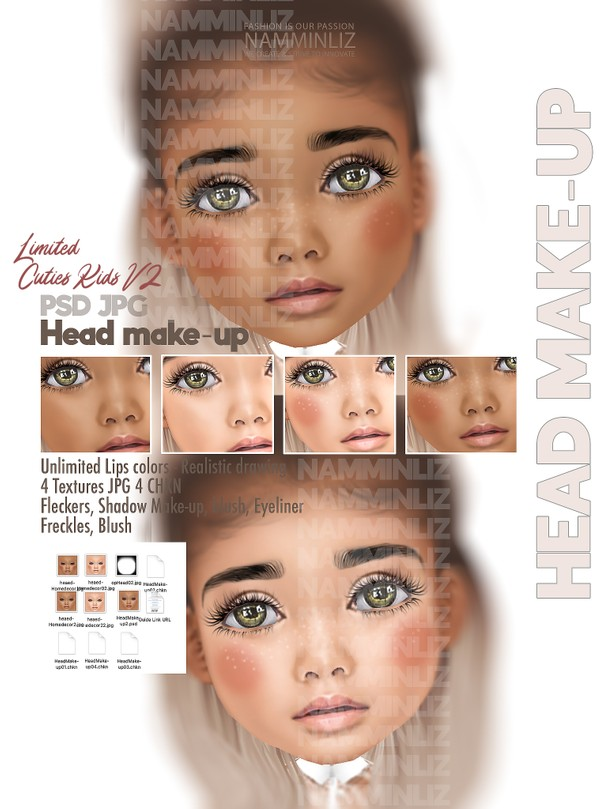 Cuties Kids V2 HeadMakeup PSD Unlimited Lips colors-Realistic drawing Textures JPG 4 CHK Limited 2