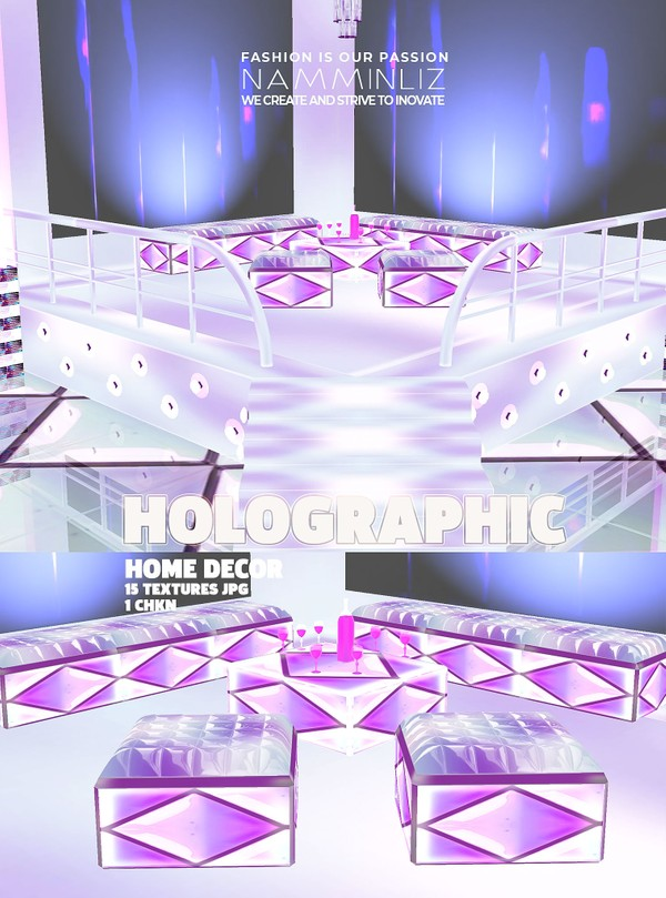 Holographic Home decor 15 Textures JPG 1 CHKN (imvu link mesh furnished)