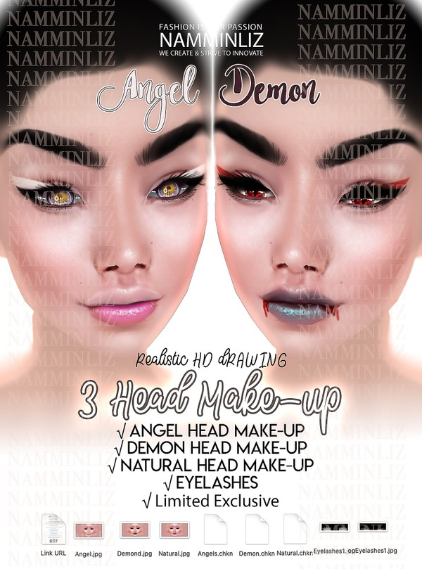 Angel & Demon (Natural) 3 Head Make-up Textures JPG 3 CHKN Master Resell right Exclusive to 1 client