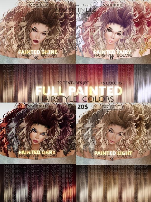 Full Painted Hair colors 26 Textures JPG