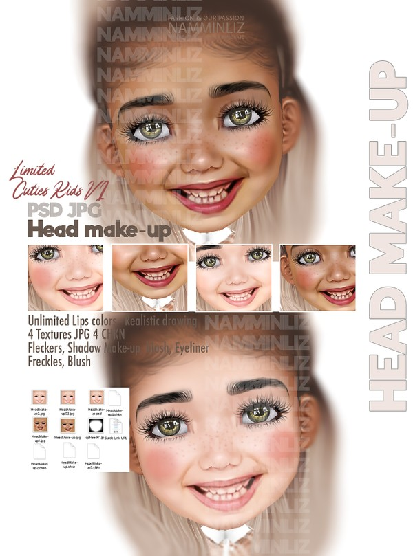 Cuties Kids V1 HeadMakeup PSD Unlimited Lips colors-Realistic drawing Textures JPG 4 CHK Limited 2