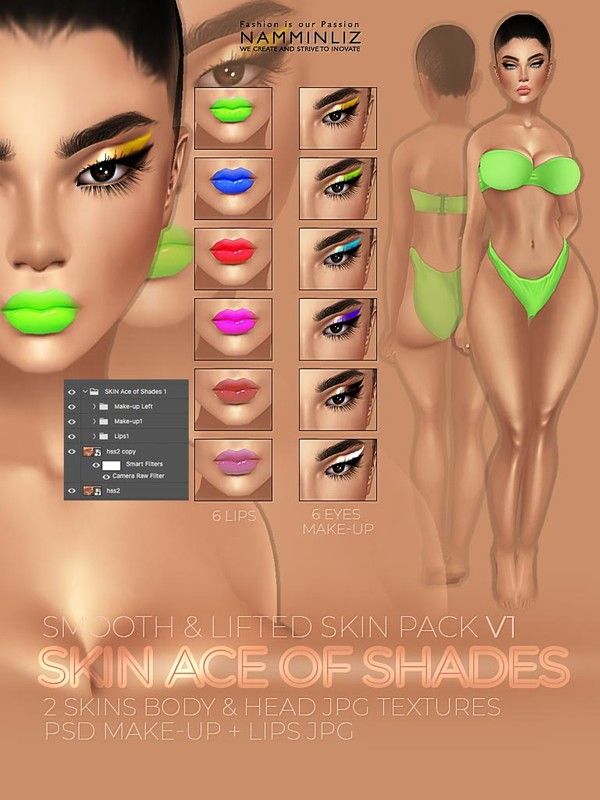 SKIN Ace of Shades V1 - PSD 6 Make-up & 6 Lips JPG Textures 2 Skins