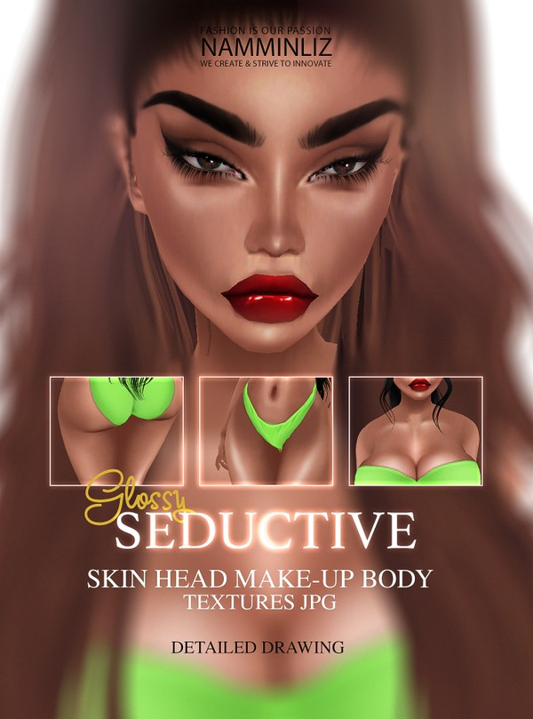 Seductive Skin Head Make-up Body Textures JPG Glossy Ombre imvu Skin