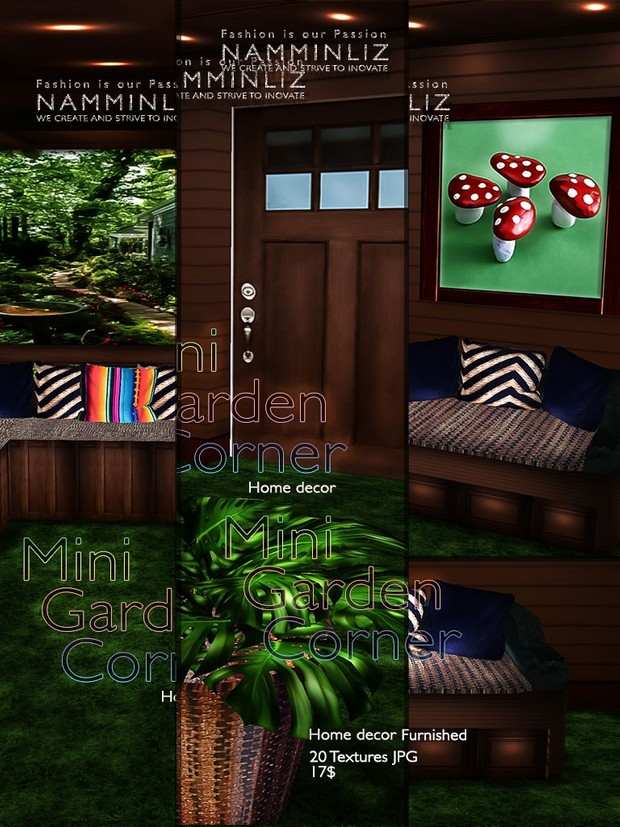 Mini Garden Corner Home decor ( 20 Textures JPG ) Furnished