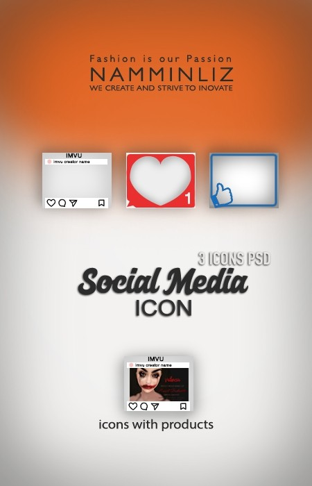 Social Media 3 Icons PSD Textures