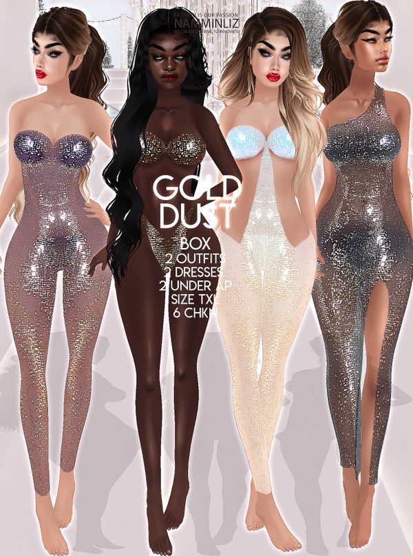 Gold Dust Box 2 Outfits 2 Dresses 2 Under AP Size TXL 6 CHKN