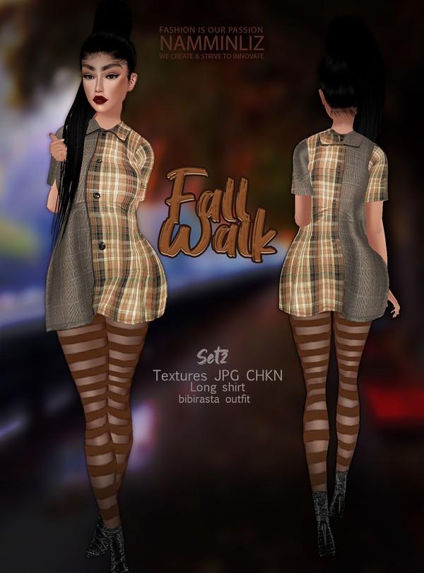 Fall Walk SET 2 Texture JPG CHKN (Long shirt+ strip leggings)Bibirasta