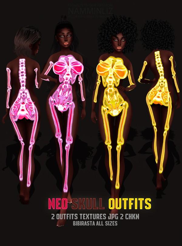 NEO SKULL 2 OUTFITS Textures JPG 2CHKN bibirasta all sizes (Pink, Yellow)