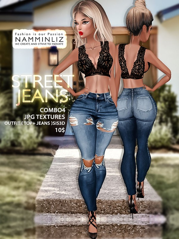 Street Jeans full combo4 Textures JPG Outfits ( Top + Jeans ) Sis3d