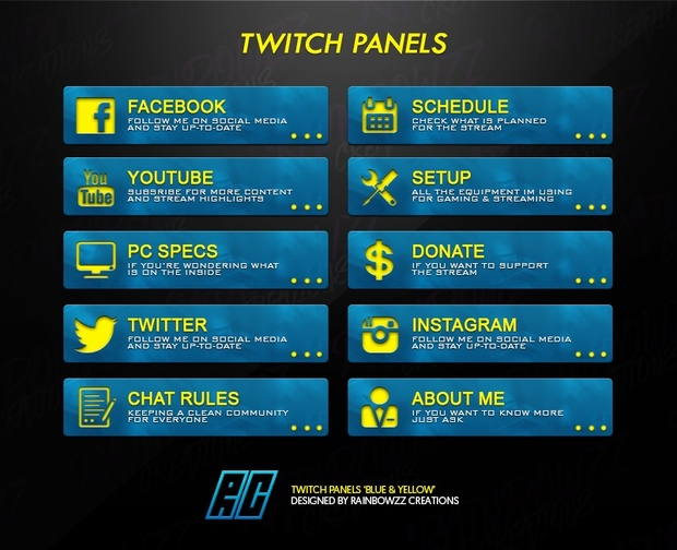 Twitch Panels 'Blue & Yellow