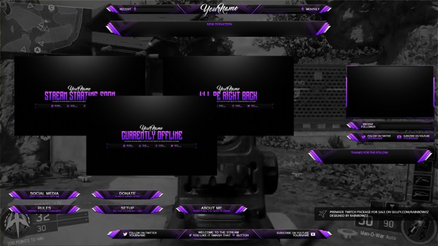 Pink Purple Black Themed Twitch Package