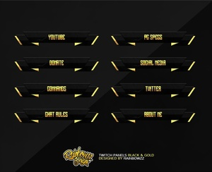 Twitch Panels Black & Gold