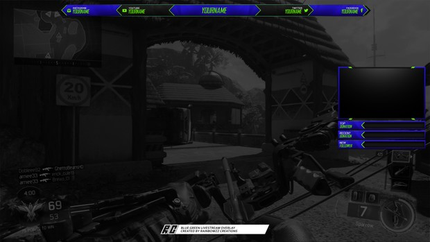 Blue & Limegreen twitch overlay