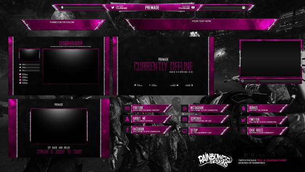 Pink & Diamons Twitch Package
