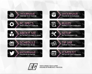 Twitch Panels Black & Pink