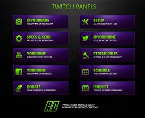 Twitch Panels - Purple & Green
