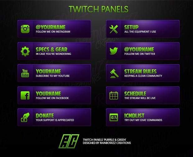 Twitch Panels - Purple & Green